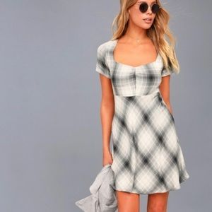 Obey Gray Flannel Plaid Skater Dress Sz Small